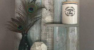Estante de paleta extra ancho, estante de madera de teal, estante de pared, estante de madera azul y blanco, estante de baño, decoración del dormitorio, decoración del baño, decoración de la playa