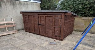 I built a bike shed entirely out of pallet wood (first time ive ever picked up a