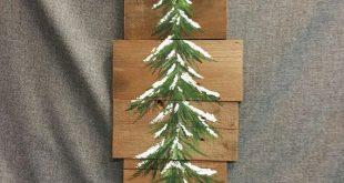 Kiefer, Winter grün, zurückgefordert Holz Palette Kunst, Schnee, Weihnachten von Hand bemalt, Upcycled, Wandkunst, Distressed