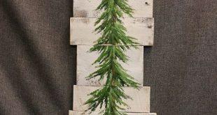 Kiefer, Weihnachtsbaum, weiß gewaschen Altholz Palette Kunst, Winter Schnee, Weihnachten von Hand bemalt, Upcycled, Wandkunst, distressed