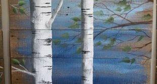 Painting on wood, Pallet white birch wall decor Painting, 4 Piece set, 9' wide total, Hand Painted Dark Blue, reclaimed wood , rustic shabby