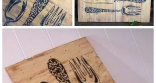 Stenciling DIY Pallet Art Using the Bon Appetit Wall Stencil