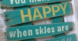 You make me HAPPY, pallet sign, pallet art, reclaimed, distressed, teal, sanded, wooden sign