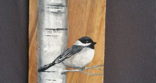 "42"" TALL Reclaimed Wood Pallet Art, Hand painted White Birch with Chickadee bird..."