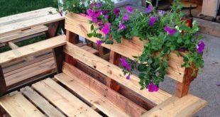 DIY Paletten Sitzbank mit Pflanzkübel