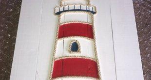 Handmade Lighthouse with Rope Beach Pallet Art Lighthouse Art Pallet Art Rope Ar...