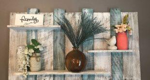 Scaffale pallet extra ampio, mensola in legno verde acqua, ripiano da parete, mensola in legno blu e bianco, ripiano bagno, arredamento camera da letto, arredamento bagno, arredamento spiaggia