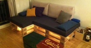 Simple pallet sofa with Lights is looks very simple in the room but when lights ...