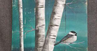 Weiße Birke Malerei, Malerei auf Palettenholz, Vogel, Wandkunst Barnwood, Reclaimed Wood Pallet Art, Rustic & Shabby Chic