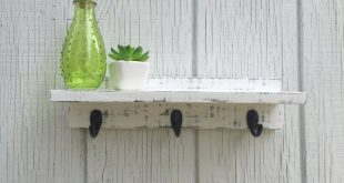 White Distressed Pallet Shelf with Hooks