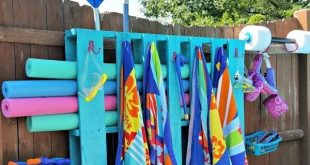 unglaublich Einfache DIY Pallet Pool Lagerung